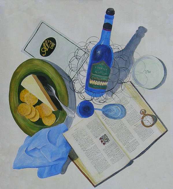 Table Scape Overhead View Wine Cheese Plate Fork Watch Time Book Words Menu Reading Drinking Eating Bistro Al's Cafe And Creamery Napkin Blue Green Yellow Brown Glass Wire Basket Ranstead Building L Topel Linda Topel Trompe L'oeil Life Like Bottle Reflections Shadows Art Plate Silverware Pages Decorative Letter Clock Dining On Words At Al's Cafe Poster featuring the painting Dining On Words At Al's Cafe by L Topel
