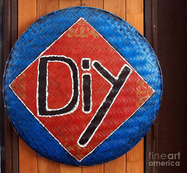 Diy Poster featuring the photograph Do It Yourself Sign On Basket by Yali Shi