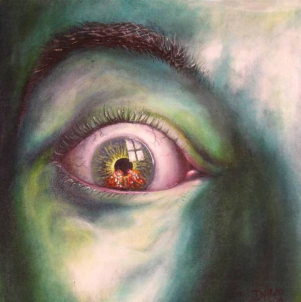 Wicked Witch Green Wizard Oz Eye Melting Shoes Ruby Slippers Beholder Poster featuring the painting Eye of the Beholder version I by Rust Dill