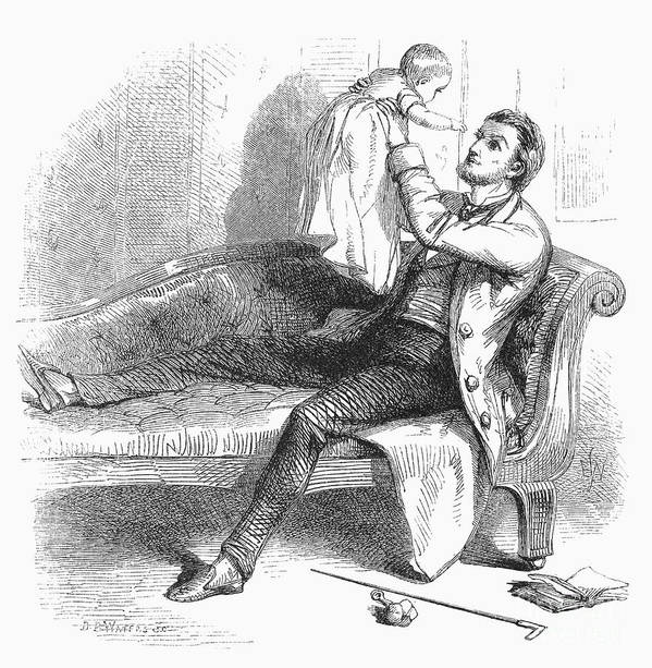 1863 Poster featuring the photograph Father And Baby by Granger