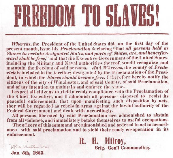 Abolition Poster featuring the photograph Freedom To Slaves by Photo Researchers, Inc.