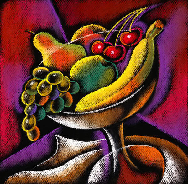 Abundance Apple Assortment Banana Cherry Color Color Image Colorful Colour Drawing Food Food And Drink Fresh Fruit Group Health Healthy Eating Horizontal Illustration Illustration And Painting Large Group Of Objects Lime New Nobody Nutrition Oranges Pear Pineapple Plum Strawberry Variety Vibrant Decorative Painting Abstract Art Poster featuring the painting Fruits by Leon Zernitsky