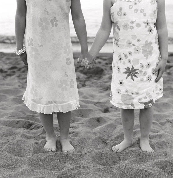 B & W Poster featuring the photograph Girls Holding Hand On Beach by Michelle Quance