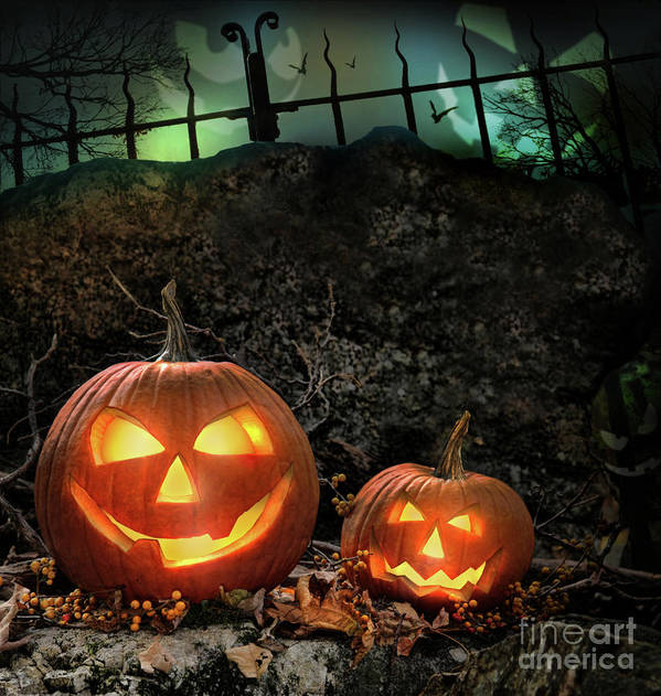 Autumn Poster featuring the photograph Halloween Pumpkins On Rocks At Night by Sandra Cunningham