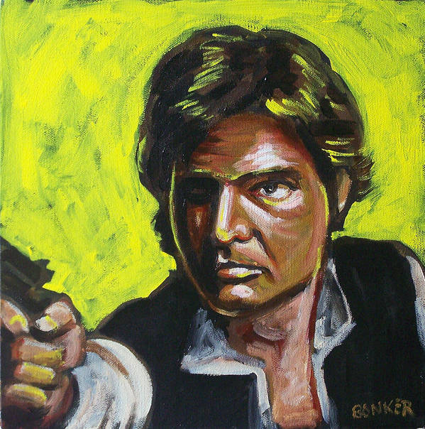 Han Solo Played By Harrison Ford In Star Wars Poster featuring the painting Han Solo by Buffalo Bonker