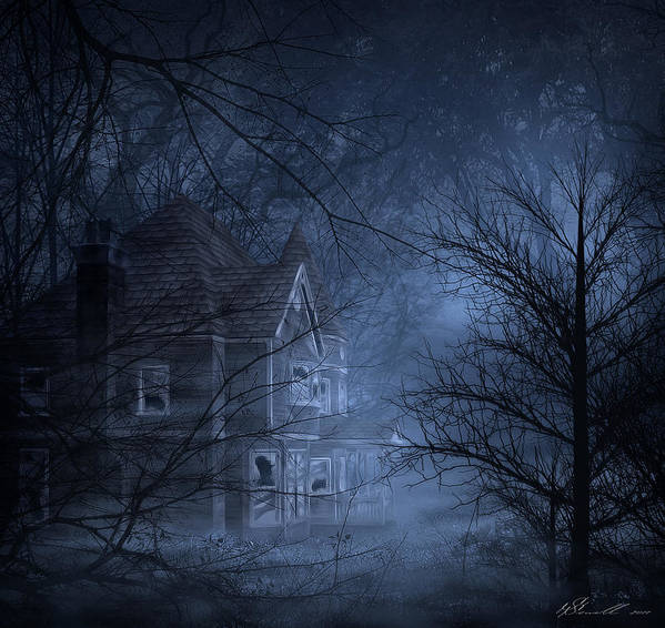 Abandoned Poster featuring the digital art Haunted Place by Svetlana Sewell