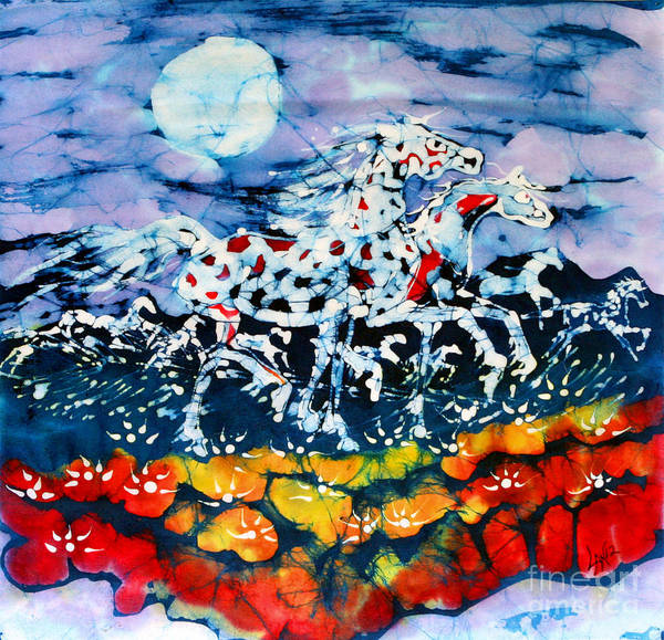 Summer Poster featuring the tapestry - textile Horses Prance On Flower Field In Summer Moon by Carol Law Conklin