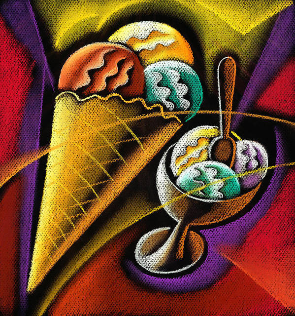 Coloured Cone Cones Dairy Products Dessert Food Graphic Ice Ice Cream Ice Creams Icecream Icecreams Illustration Illustrations Milk Products Mouth Watering One Picture Pictures Pink Snack Strawberry Sweet Temptation Vertical White Background Decorative Art Absttract Painting Poster featuring the pastel Icecream by Leon Zernitsky