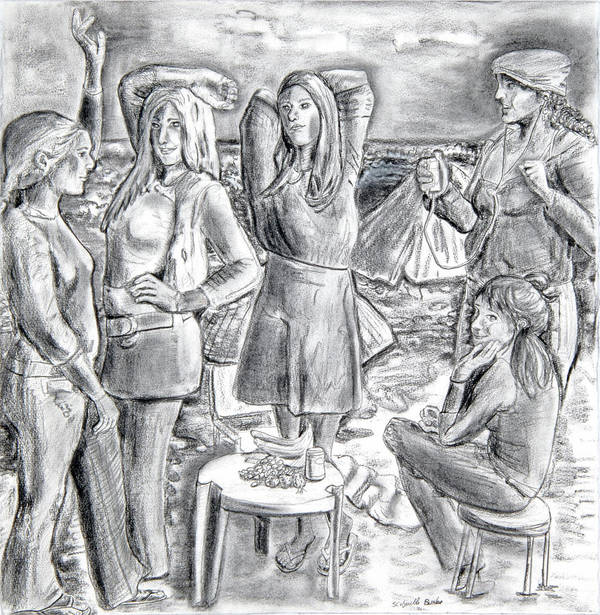 Demoiselles Poster featuring the drawing Les Demoiselles V1 by Susan Cafarelli Burke