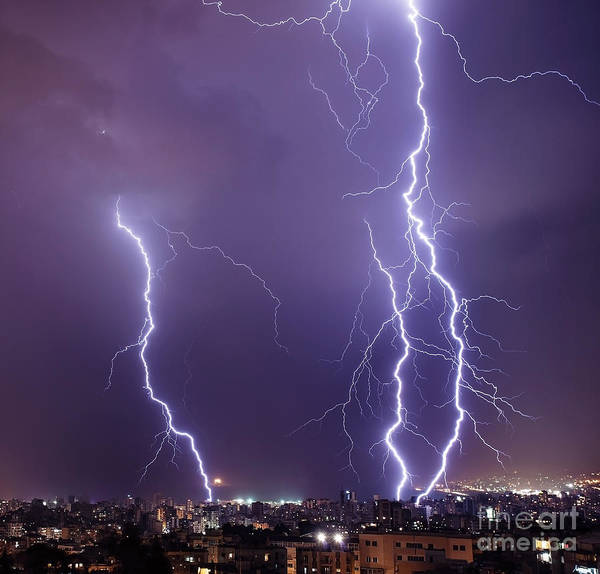 Background Poster featuring the photograph Lightning In The City by Anna Om