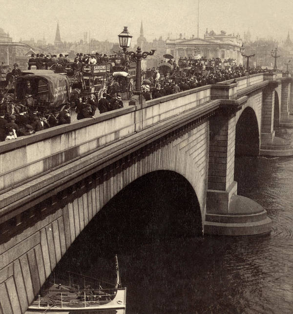 Sepia Poster featuring the photograph London Bridge - England - C 1896 by International Images