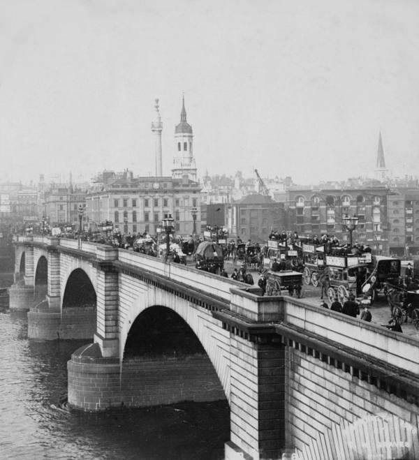 London Poster featuring the photograph London Bridge Showing Carriages - Coaches And Pedestrian Traffic - C 1900 by International Images
