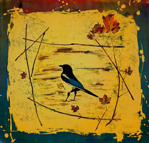 Magpie Poster featuring the tapestry - textile Magpie Framed In Maple by Carolyn Doe