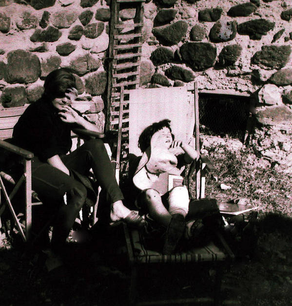 Colette Poster featuring the photograph Mamma Chris And Colette Having A Well Deserved Rest Siesta In The Garden In Alba France by Colette V Hera Guggenheim