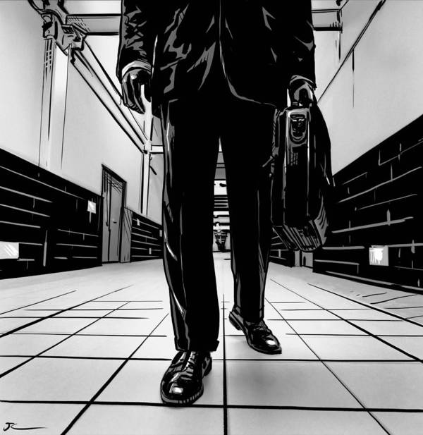 Man Poster featuring the drawing Man With Briefcase by Giuseppe Cristiano