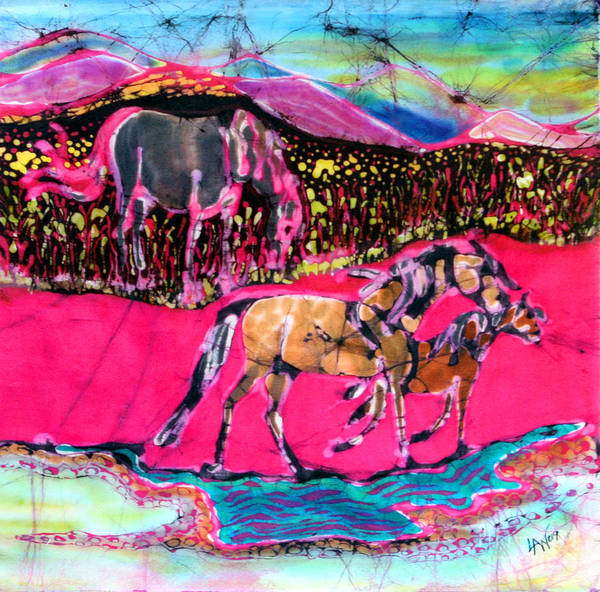 Mare Poster featuring the tapestry - textile Mare And Foal by Carol Law Conklin