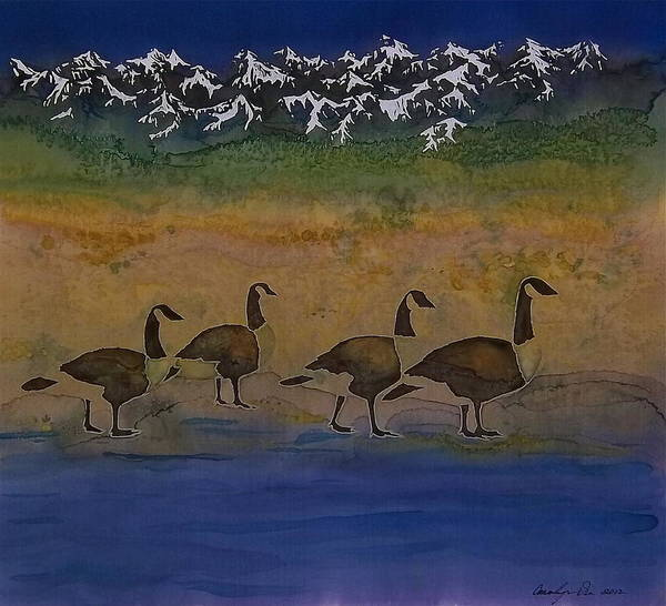 Geese. Migration Poster featuring the tapestry - textile Migration Series Geese 2 by Carolyn Doe