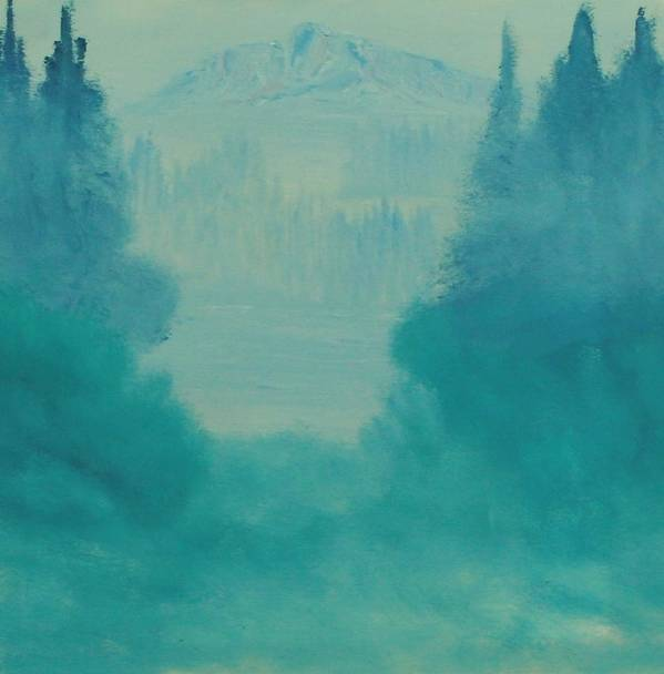 Landscape Poster featuring the painting Misty Winter Morning by David Snider