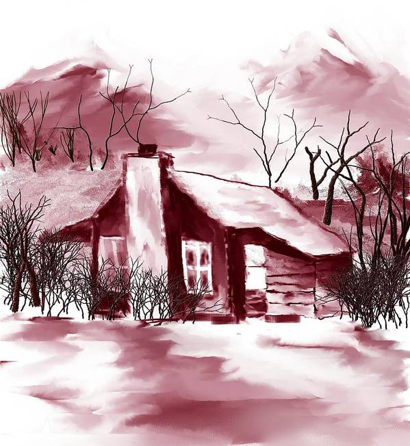 Country Cabin Poster featuring the digital art Mountain Cabin by David Lane