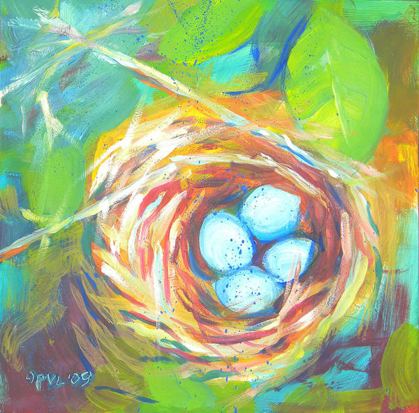 Eggs Poster featuring the painting Nest Of Prosperity 1 by Pam Van Londen