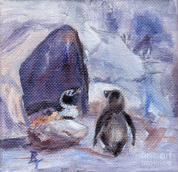 Penguins Poster featuring the painting Nesting Penguins by Brenda Thour