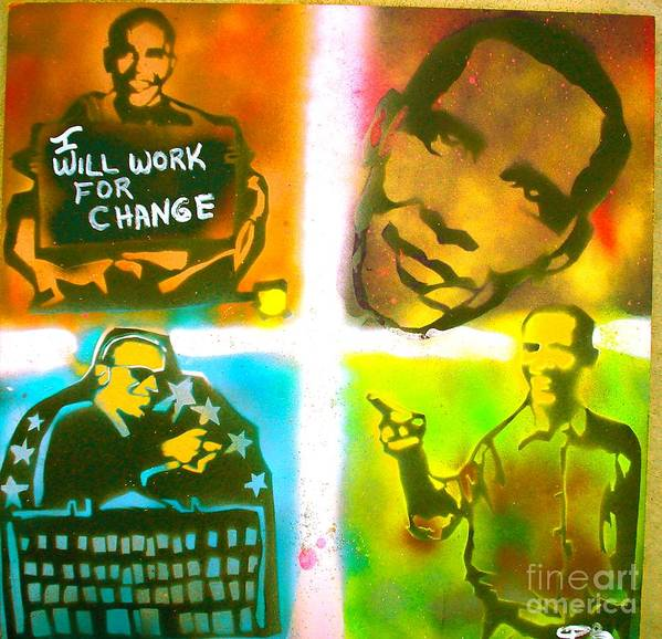 Barack Obama Poster featuring the painting Obama Squared by Tony B Conscious