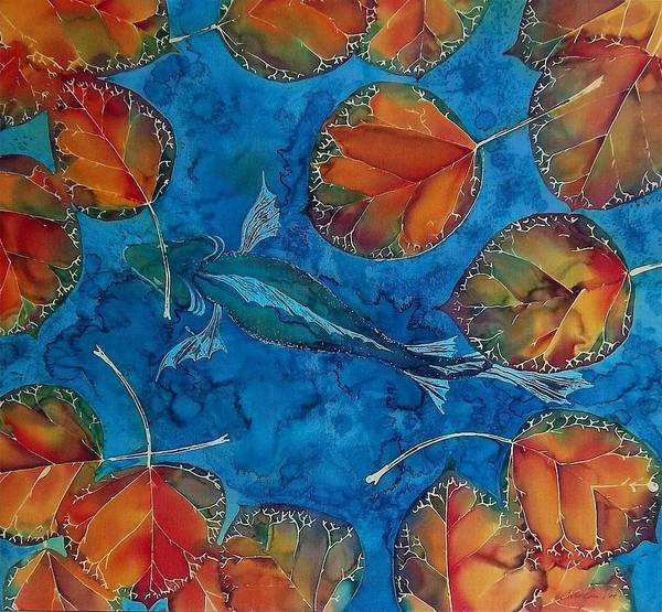 Fish Poster featuring the tapestry - textile Orange Leaves And Fish by Carolyn Doe