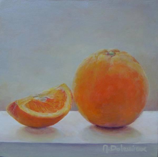 Acrylic Poster featuring the painting Orange un Quart by Muriel Dolemieux