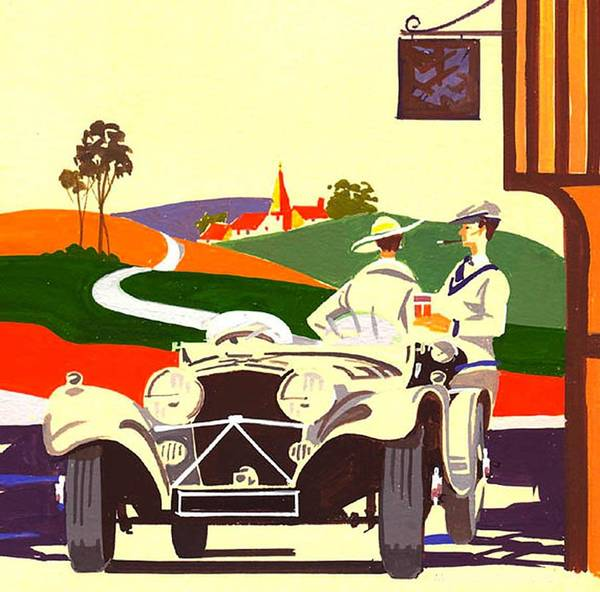Vintage Car Poster featuring the painting Overhill And Downale by Mikel Maurice