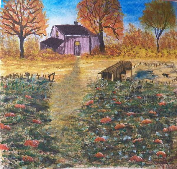 Canvas Prints Poster featuring the painting Pumpkins Ready For The Harvest by Laurie Kidd