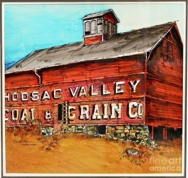 Red Barn Adams Mass Poster featuring the painting Red Barn Adams Mass by Robert Birkenes