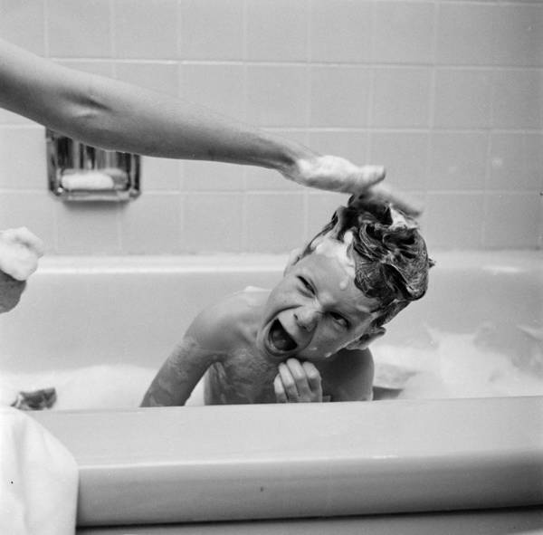 Child Poster featuring the photograph Reluctant Bather by Ecell