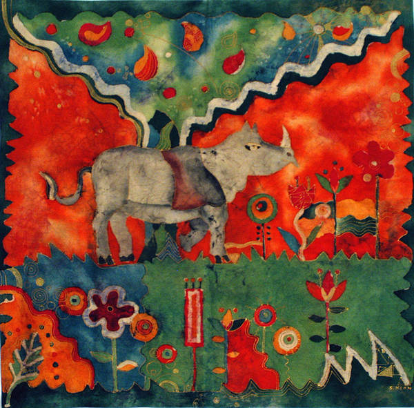 Cotton Poster featuring the tapestry - textile Rhino by Sandra Kern