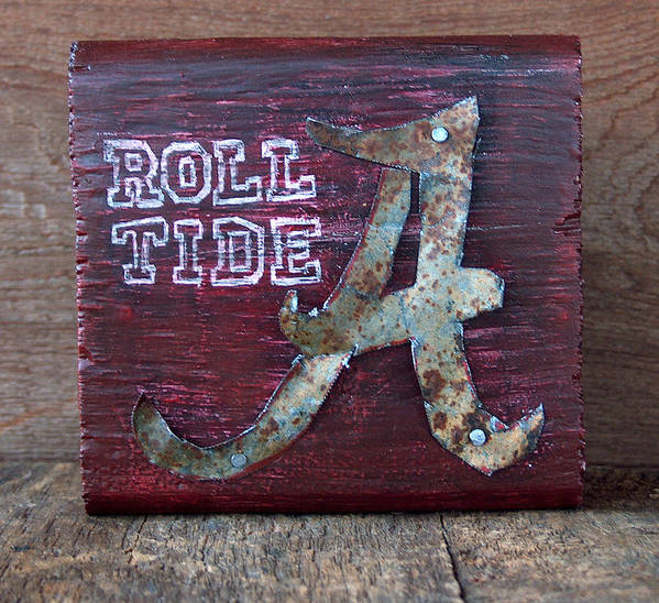 Roll Tide Poster featuring the mixed media Roll Tide - Small by Racquel Morgan