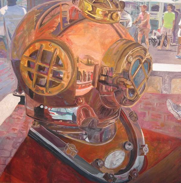 Seaworld Art Poster featuring the painting Seaworld Copper Diving Helmet by Susan McNeil