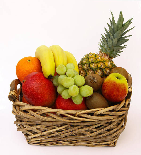 Vertical Poster featuring the photograph Selection Of Tempting Fresh Fruits In A Basket by Rosemary Calvert