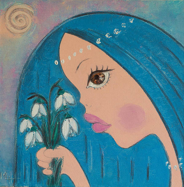 Woman Poster featuring the painting Spring by Maria Nikolova