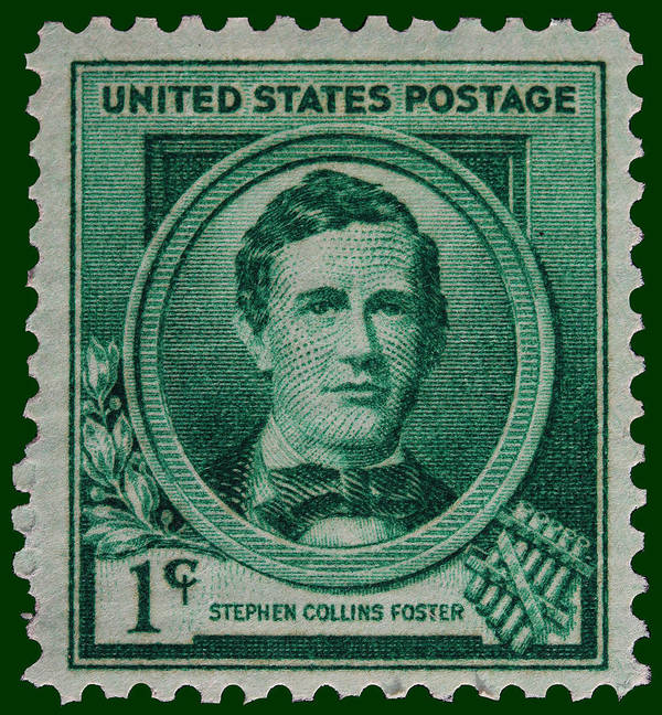 Stephen Collins Foster Postage Stamp Poster featuring the photograph Stephen Collins Foster Postage Stamp by James Hill
