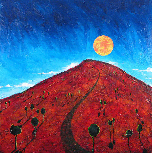Landscape Poster featuring the painting Sun Over Red Hill by Rollin Kocsis
