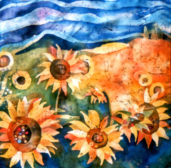 Sunflowers Poster featuring the tapestry - textile Sunflowers by Sandra Kern