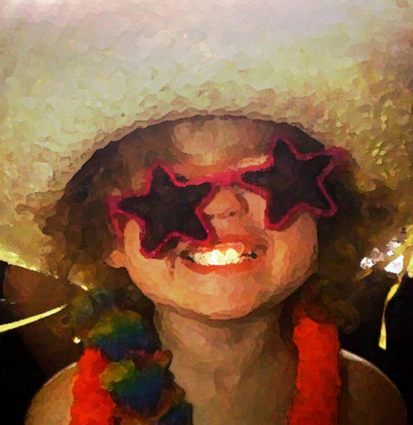 Photo Art; Photo Manipulation; Child Humor; Happy Girl Art; Happy Girl Canvas; Smiling Girl Art; Smiling Girl Canvas; Watercolor Child; Watercolor Photo; Poster featuring the digital art Superstar by Gina Barkley