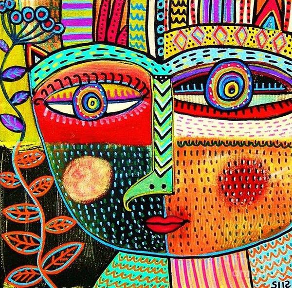 Women Poster featuring the painting -talavera Owl Goddess by Sandra Silberzweig