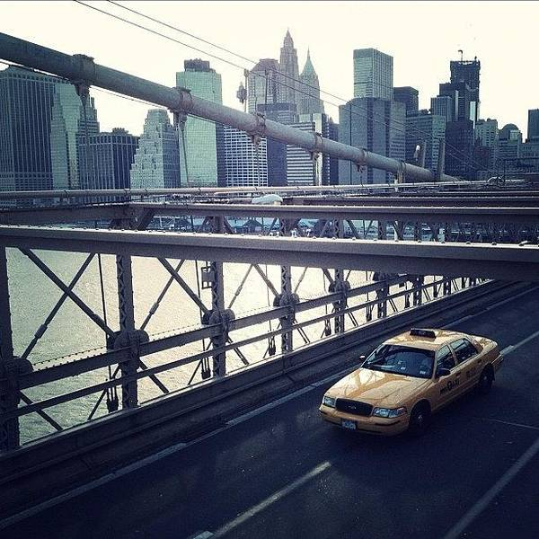 Summer Poster featuring the photograph Taxi On Bridge by Randy Lemoine