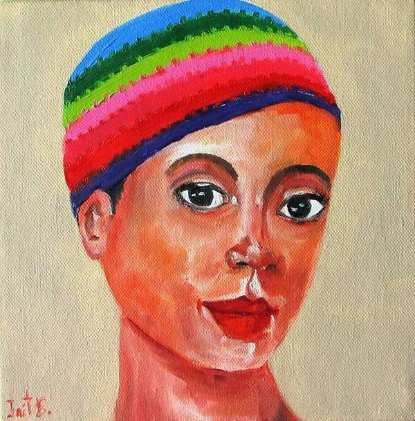 Portrait Poster featuring the painting The Hat 2 by Irit Bourla