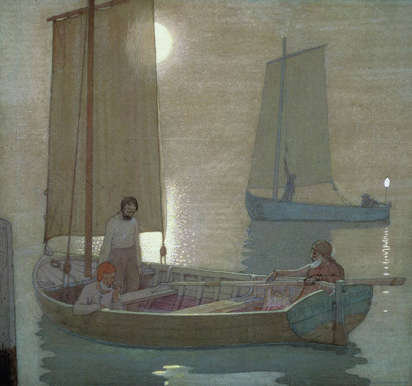 Fishing; Fishermen; Sailing; Boat; Calm; Still; Moonlight; Sea; Seascape Poster featuring the painting The Three Brothers by Frederick Cayley Robinson