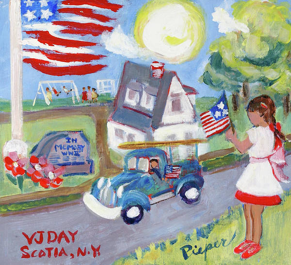 End Of Wwii In Small Town America Poster featuring the painting The War Is Over And I Wear My New Pinafore by Elzbieta Zemaitis