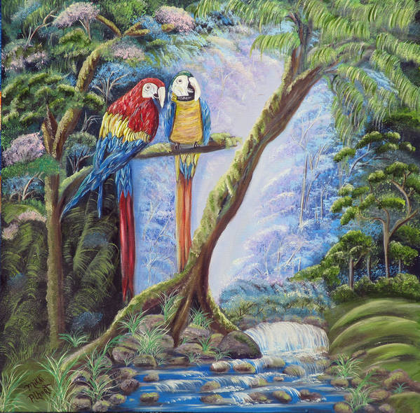 Parrots Poster featuring the painting Tropical Twosome by Mikki Alhart