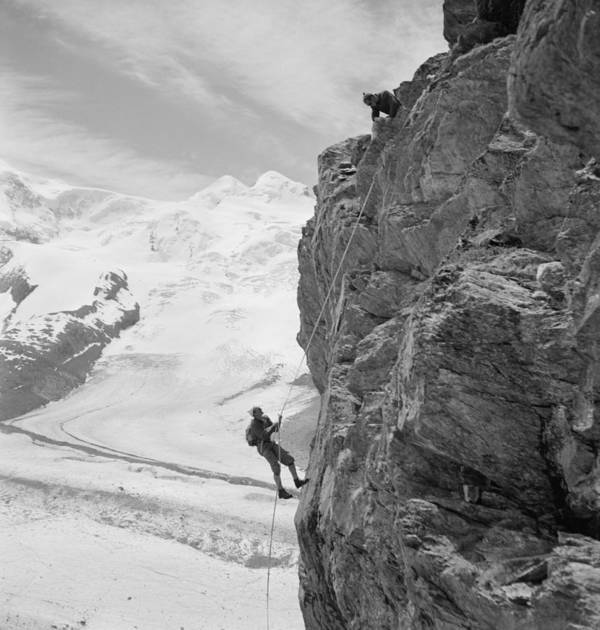 History Poster featuring the photograph Two Mountain Climbers On The Side by Everett