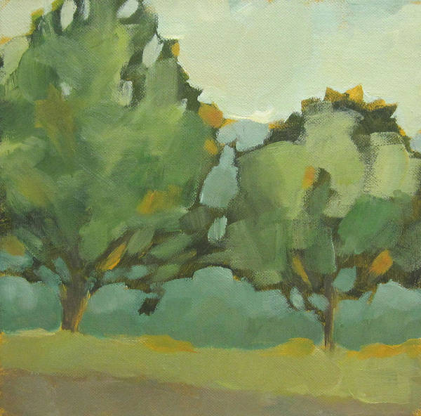 Landscape Poster featuring the painting Two Trees by Mary Brooking