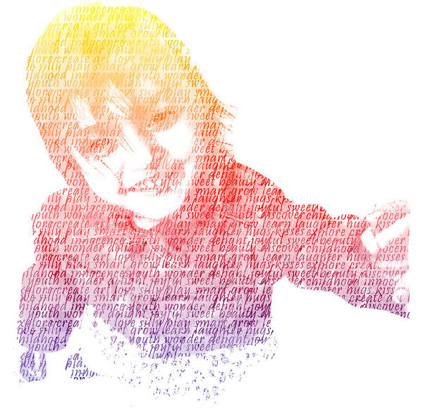 Typography Poster featuring the digital art Typography Portrait Childhood Wonder by Nikki Marie Smith